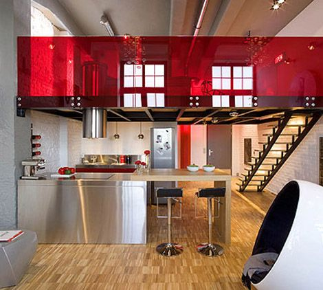 Eccentric Apartment Interior with Red Accents