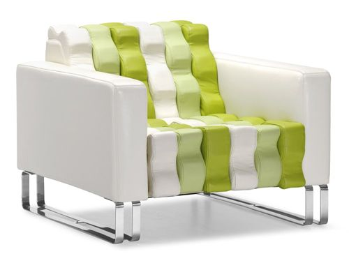 Ripple – Armchair in White and Green