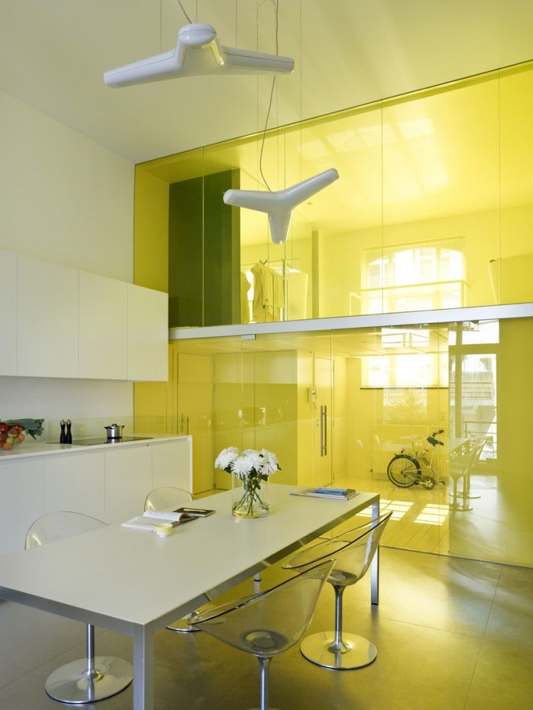 Loft G – Yellow Apartment in Belgium by dmvA Architects