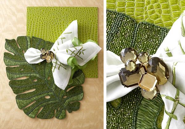 Зелени и бели аксесоари за маса