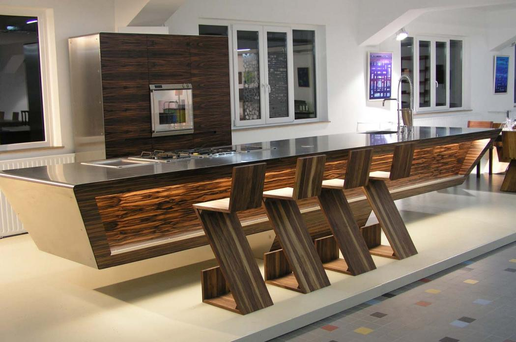 Kitchen wood and steel design from unikat best home news for Modern kitchen design with bar