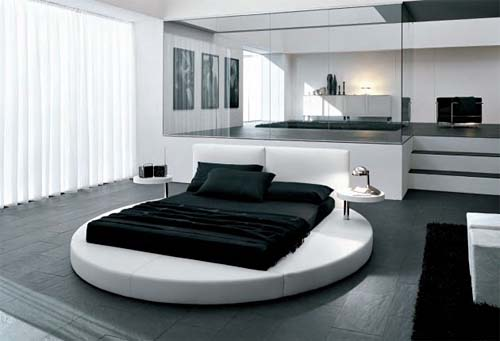 Modern-black-white-bedroom-with-circle-bed
