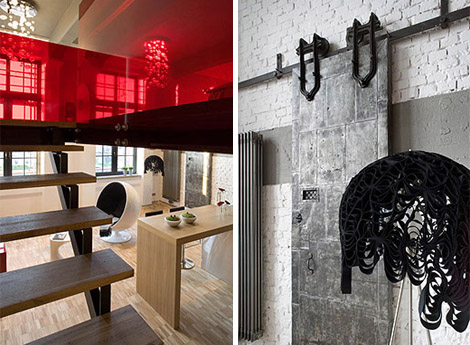 Eccentric Apartment Interior with Red Accents 2