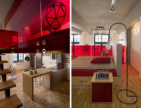 Eccentric Apartment Interior with Red Accents 6