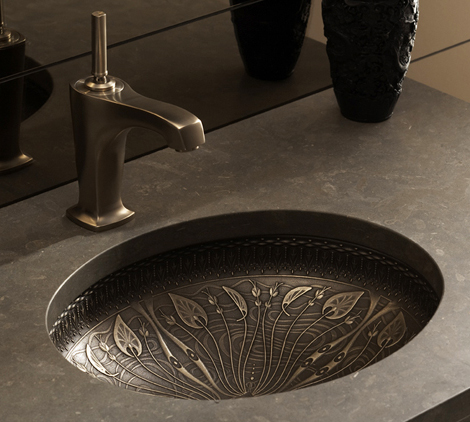 Lilies Lore - Bronze Washbasin with Decorations by Kohler 2