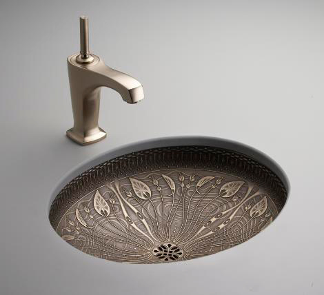 Lilies Lore - Bronze Washbasin with Decorations by Kohler