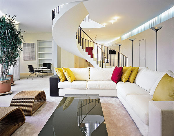 Curved line in interior design two level apartment with a minimalist