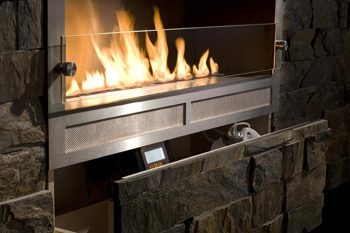 Contemporary eco fireplaces for small spaces best home for Small den with fireplace