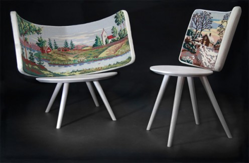 Cool Swedish Chairs with Embroidery from Johan Lindsten